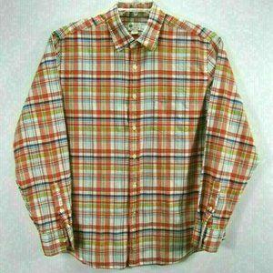 J. Crew Tailored Fit Mens L Shirt Red Plaid Cotton